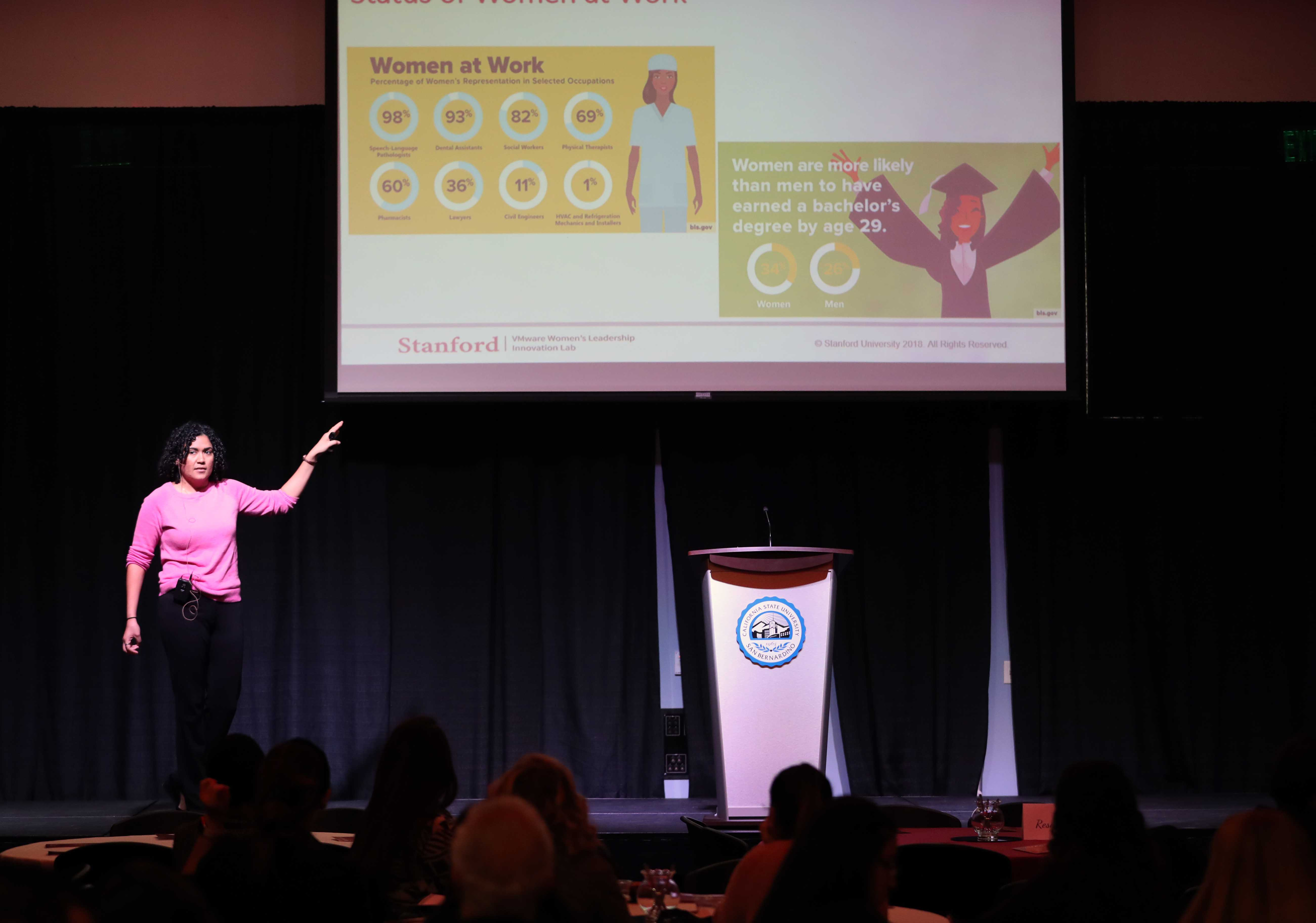 Melissa Abad, a sociologist at the Stanford VMware Women's Leadership Innovation Lab gave the morning keynote presentation.