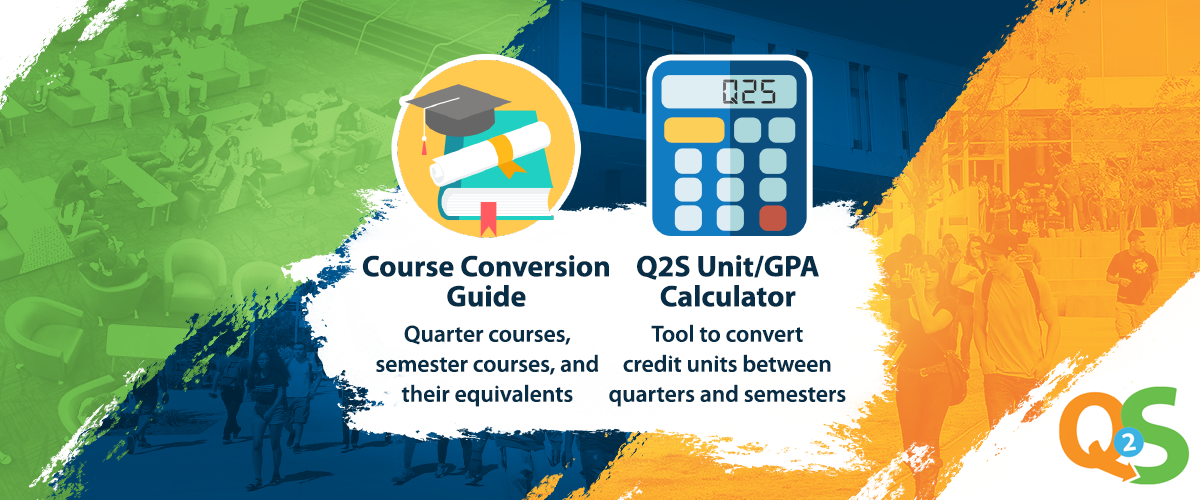 green, blue, orange background, Q2S logo bottom right. picture of mortarboard, diploma, texbook for course conversion guide and a calculator for GPA calculator