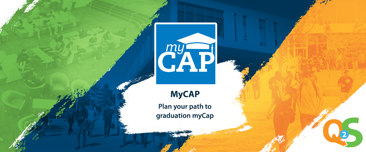 green, blue & orange background with myCAP logo and text saying play your path to graduation myCap
