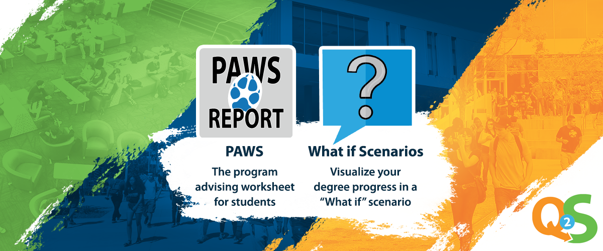 green, blue, orange stripped background with coyote paw icon for PAWS report and a question mark for what-if scenarios.