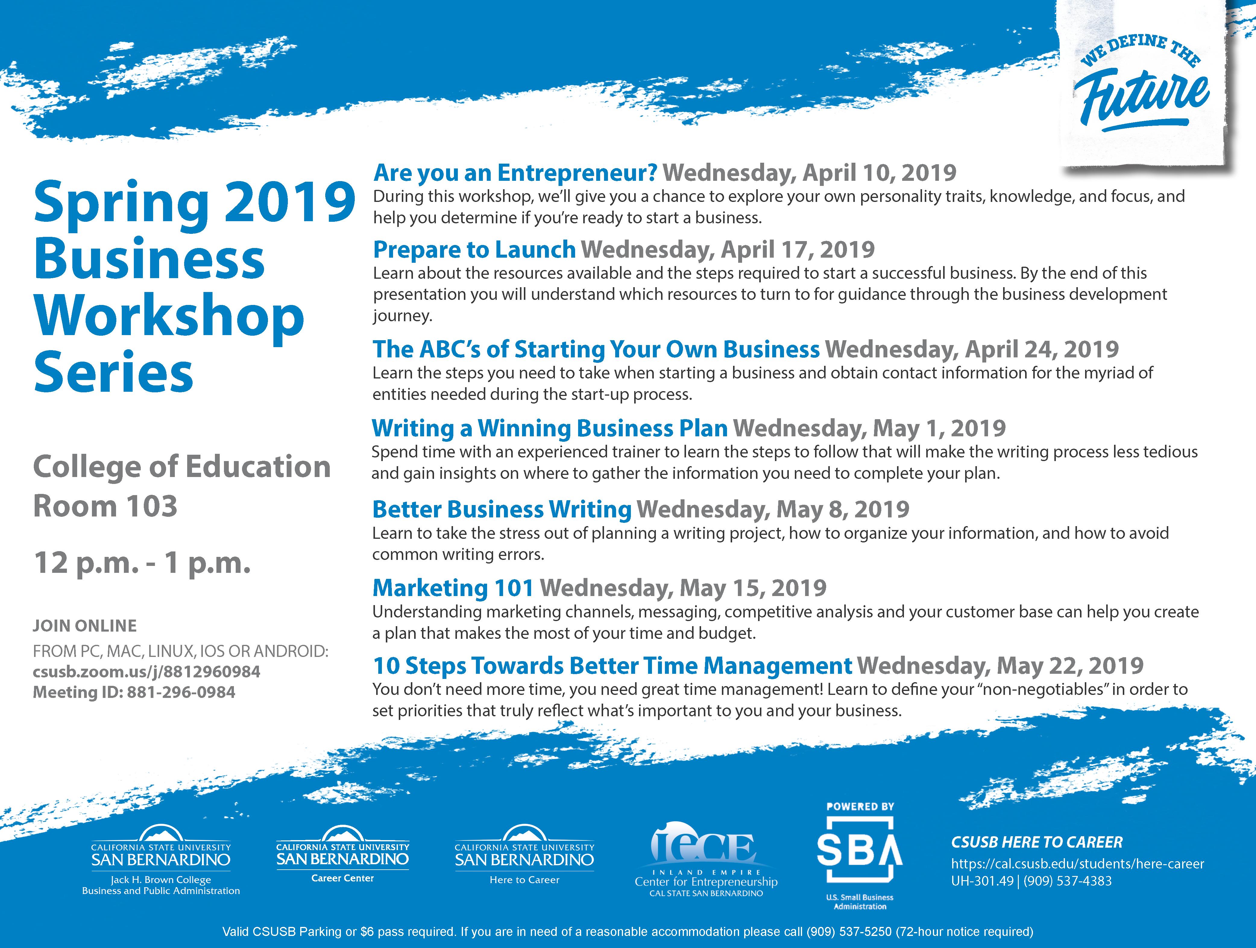 2018-2019 Business Workshop Series