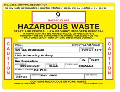 Hazardous Chemical Waste Environmental Health And Safety Csusb