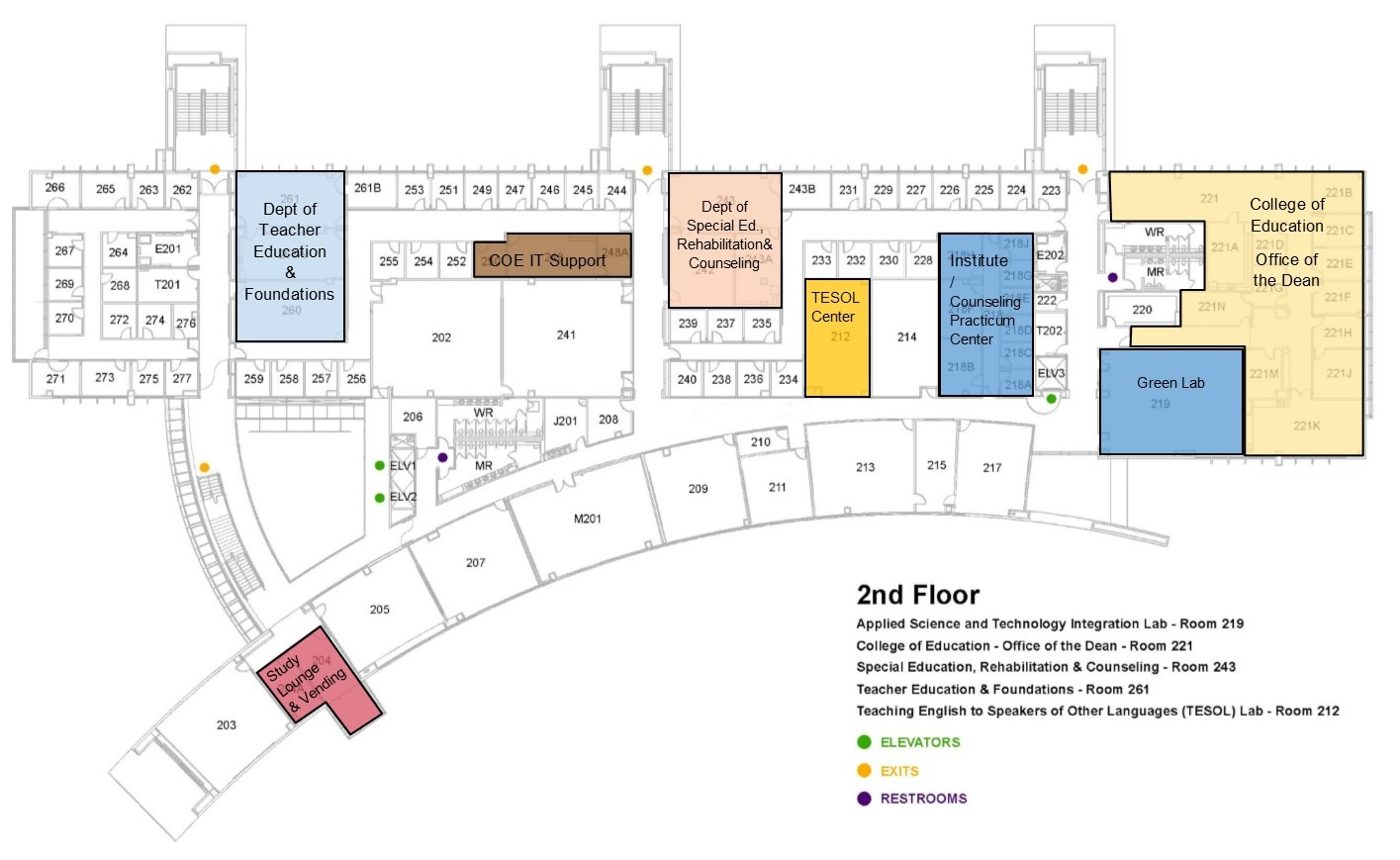 2nd Floor Map - College of Education Building