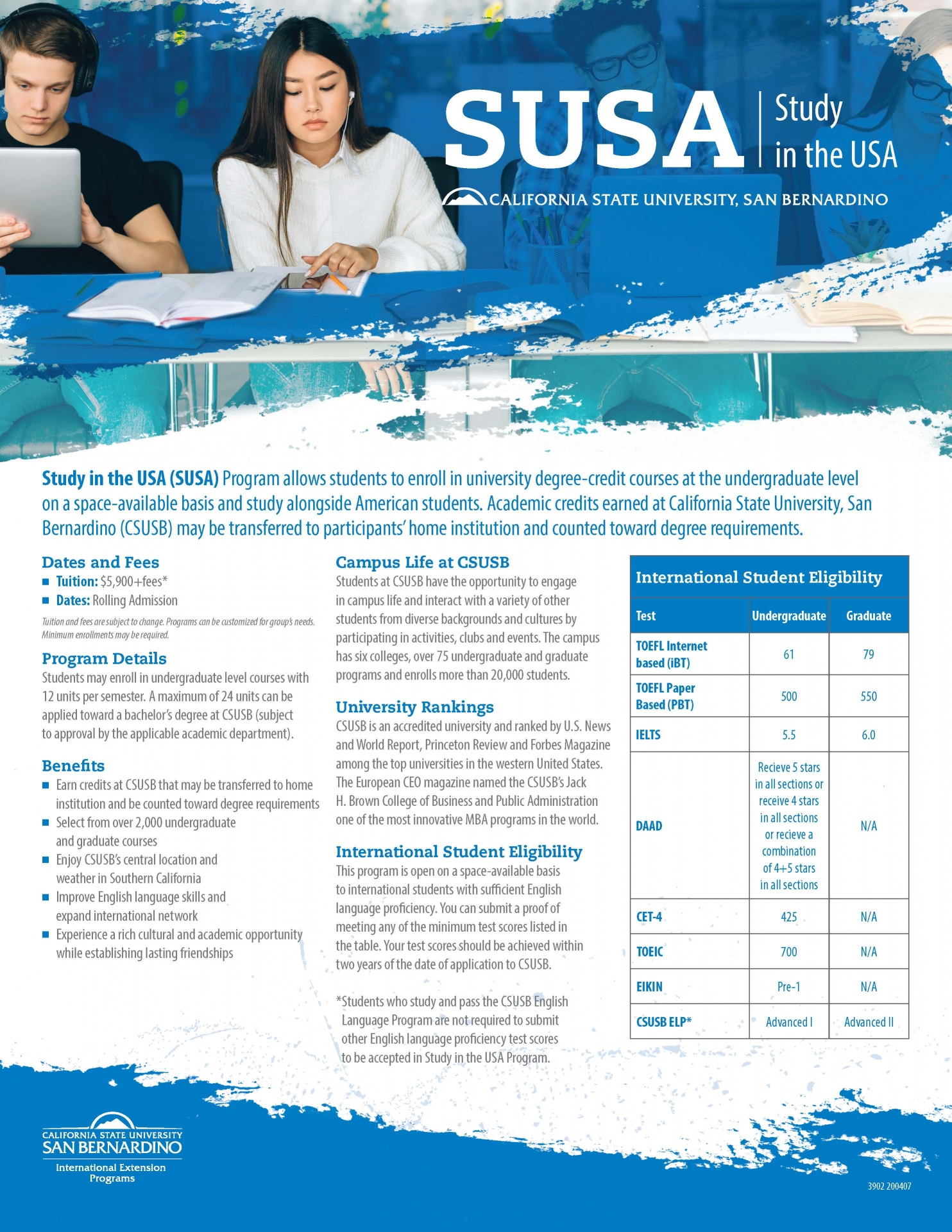 Study in the USA Program Flyer