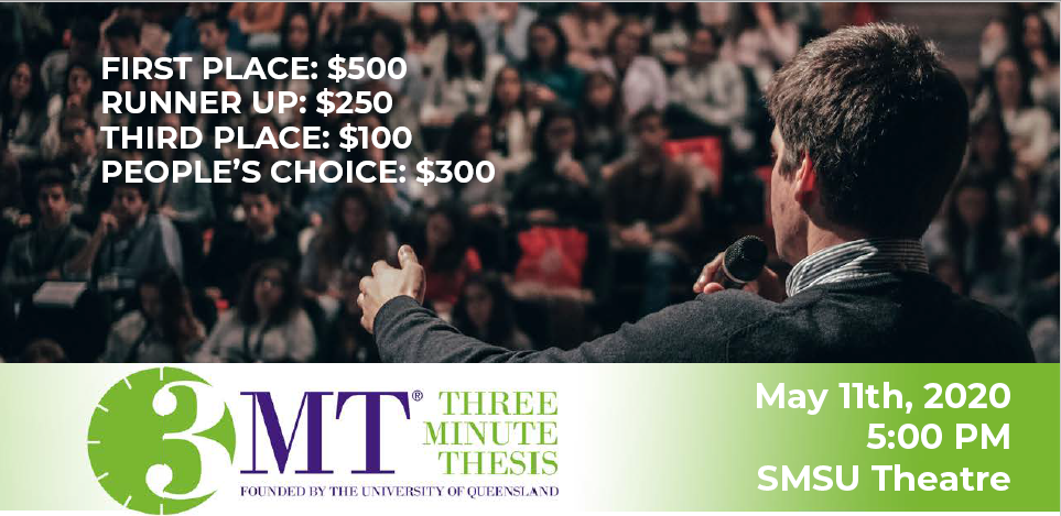 Three Minute Thesis, May 11th, 5:00 pm, SMSU Theater