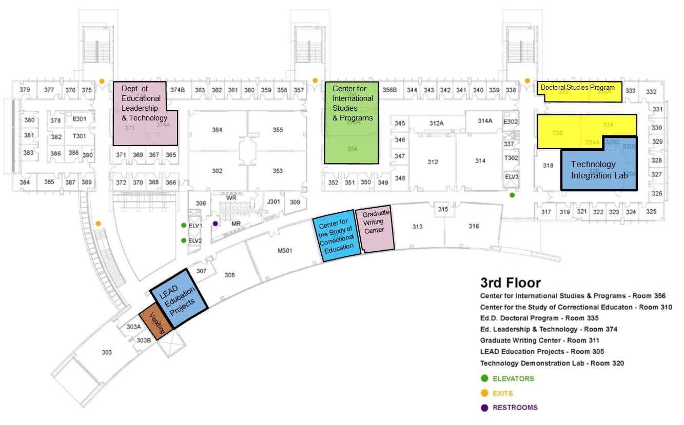 3rd Floor Map - College of Education Building