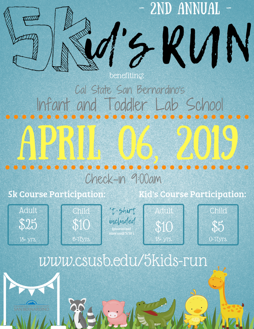 5K/Kid's Run will take place on Saturday, April 6. Check in will begin at 9:00 a.m.
