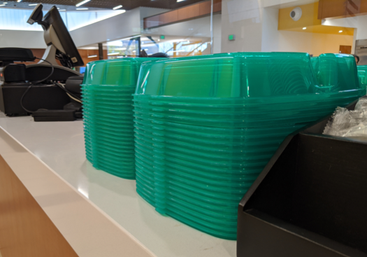 CSUSB Dining Services To-Go food containers.