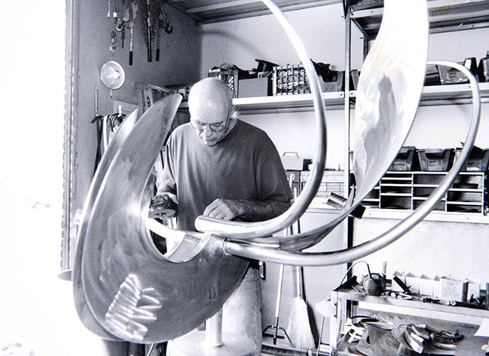 Richard M. Johnston, in his Colton studio, circa 1993
