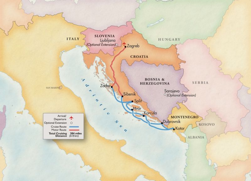 Adriatic trip map