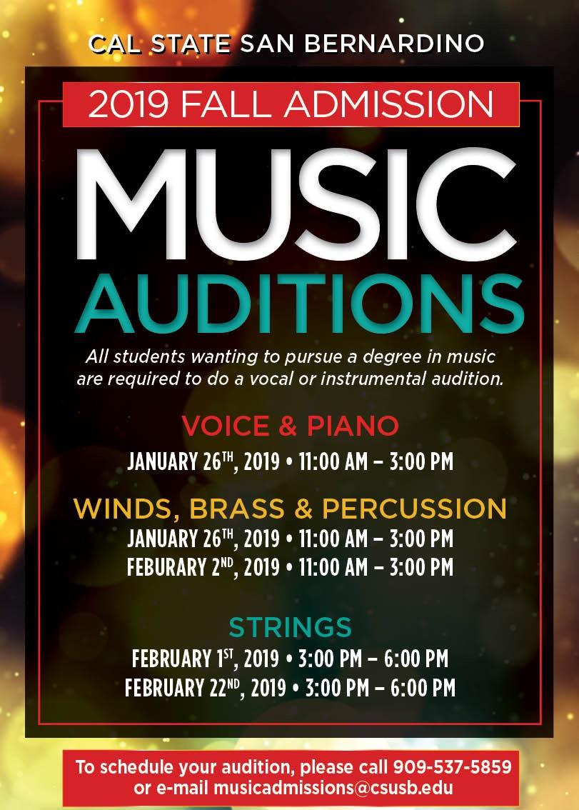 Cal State San Bernardino - 2019 Fall Admission Music Auditions