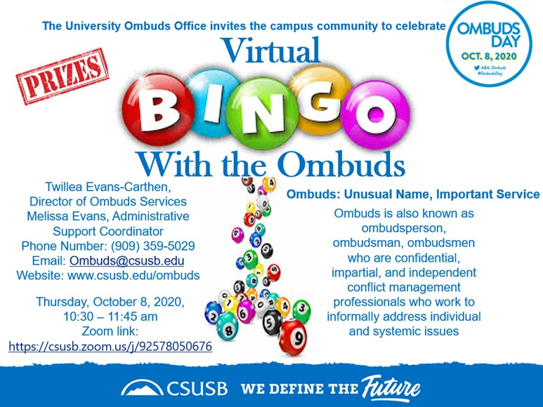National Ombuds Day, Thursday, October 8, 2020, 10:30 am-11:45 am