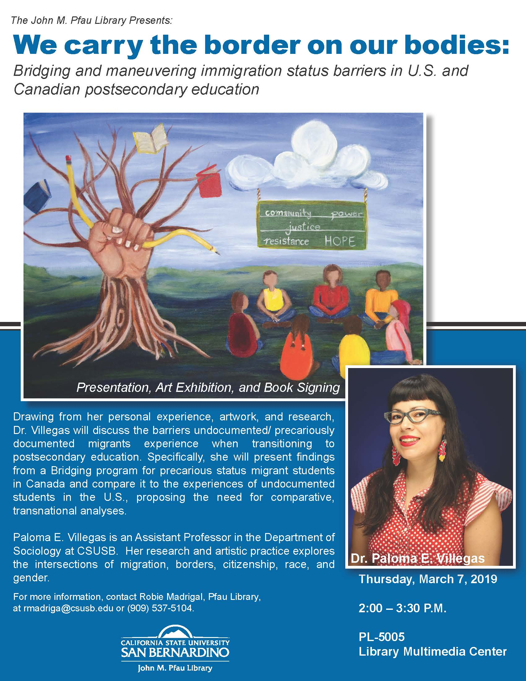 Comparisons of Canadian and U.S. immigration policies and undocumented youth in higher education topic of March 7 program