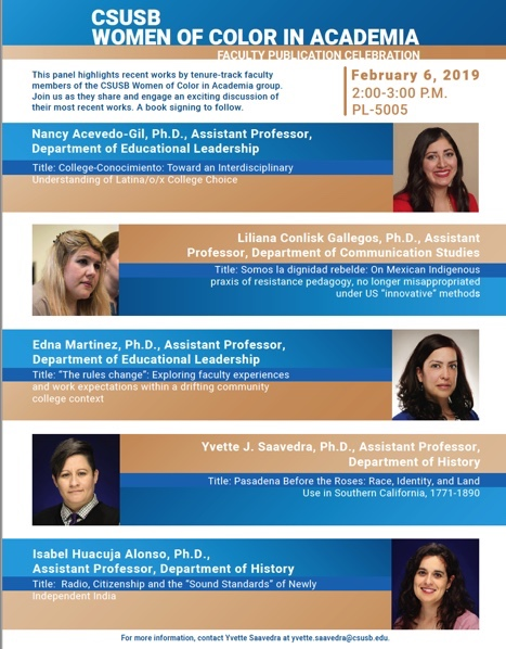 CSUSB Women of Color in Academia - Faculty Publication Celebration, Feb 6, 2019 , 2:00-3:00 P.M., PL-5005
