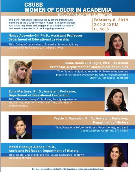 CSUSB Women of Color in Academia - Faculty Publication Celebration, Feb 6, 2019 , 2:00-3:00 P.M., PL-5005