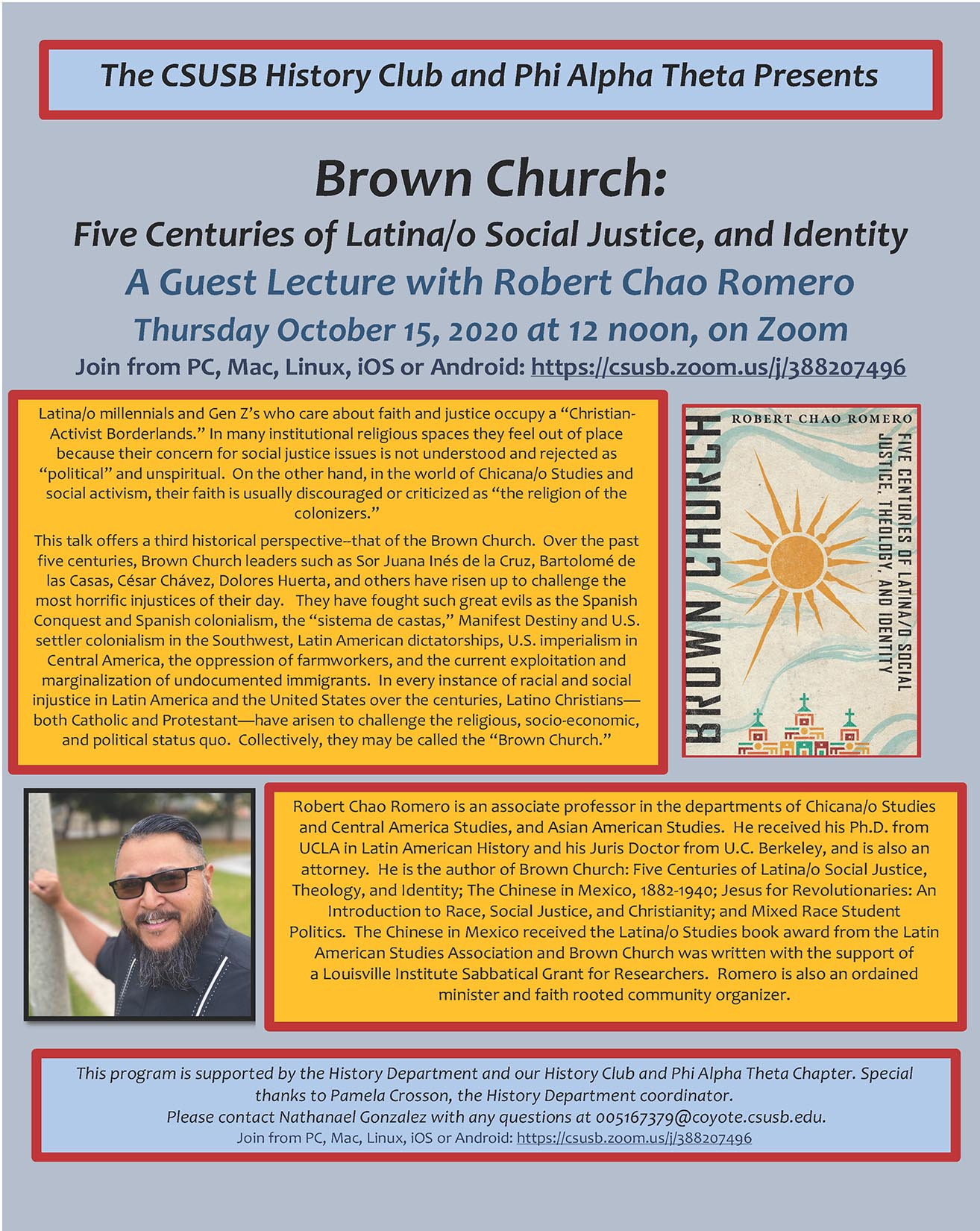 Web flyer, History Club, Robert Chao Romero talk