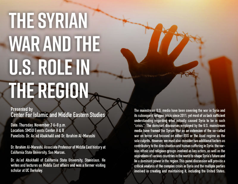 The Syrian War and The U.S Role in the Region, flyer