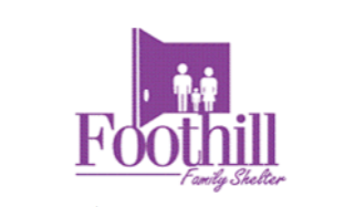Purple and white Foothill Family Shelter logo