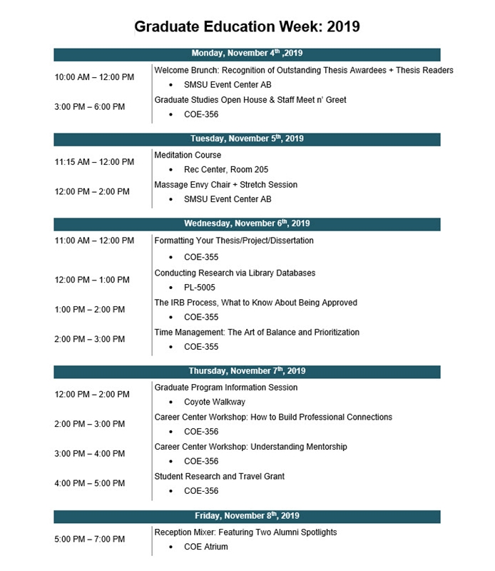 Graduate Education Week Schedule 2019