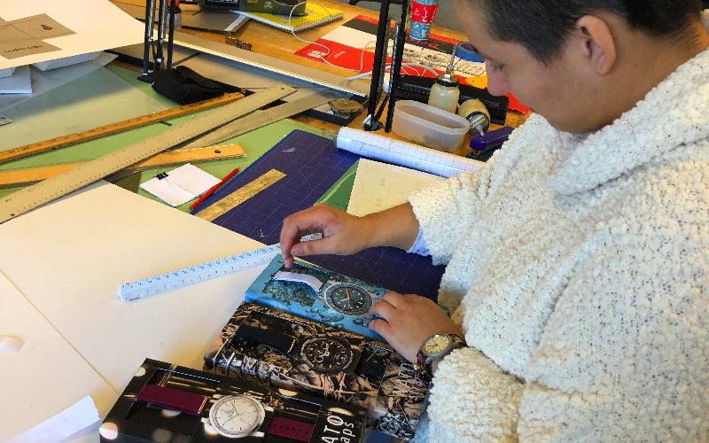 Student in packaging studio