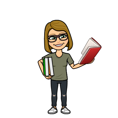 This Bitmoji is an animated representation of a woman with blonde hair wearing an olive green top, black rimmed glasses, and dark ripped jeans holding two books in one hand and an open book in the other.