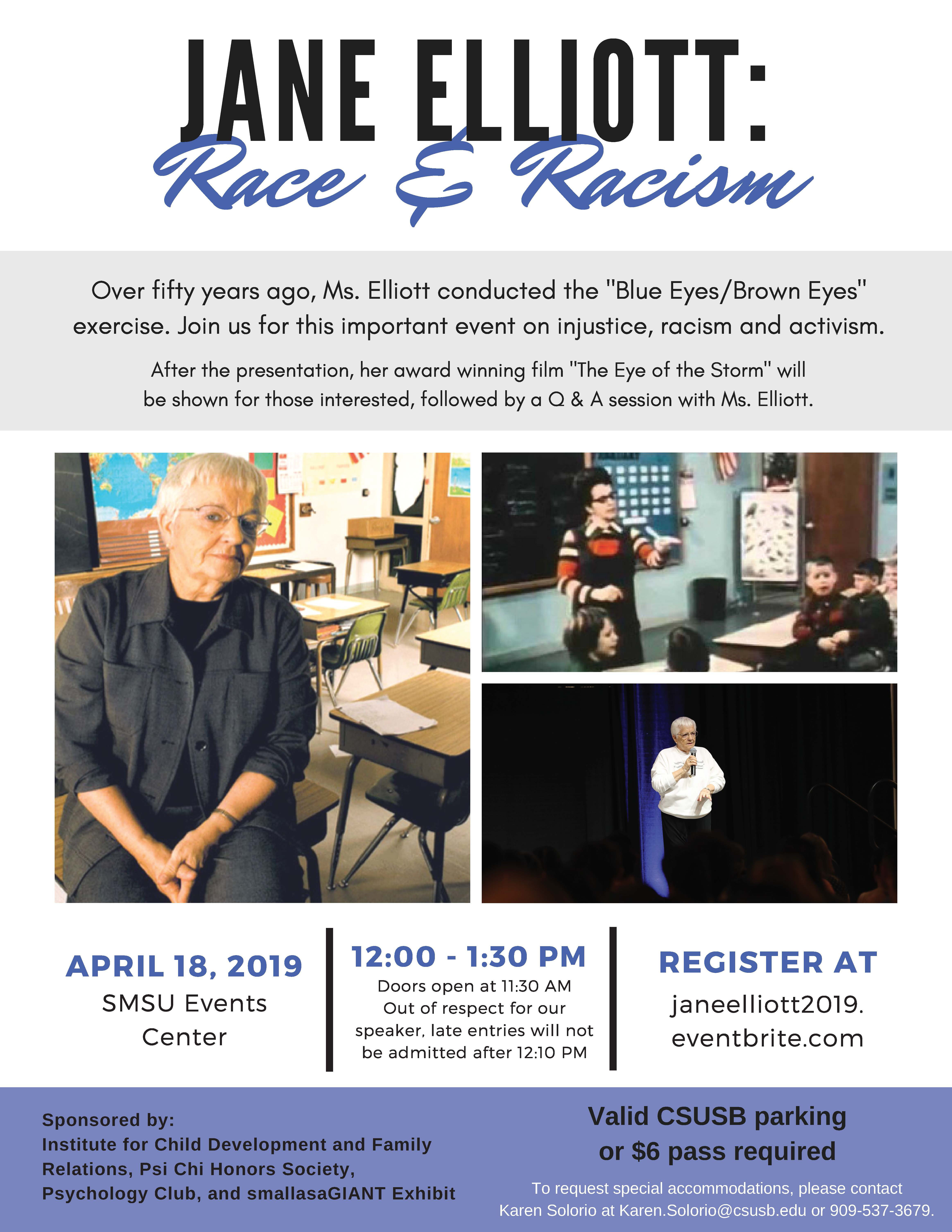 'Jane Elliot on Race and Racism' set for April 18 at CSUSB