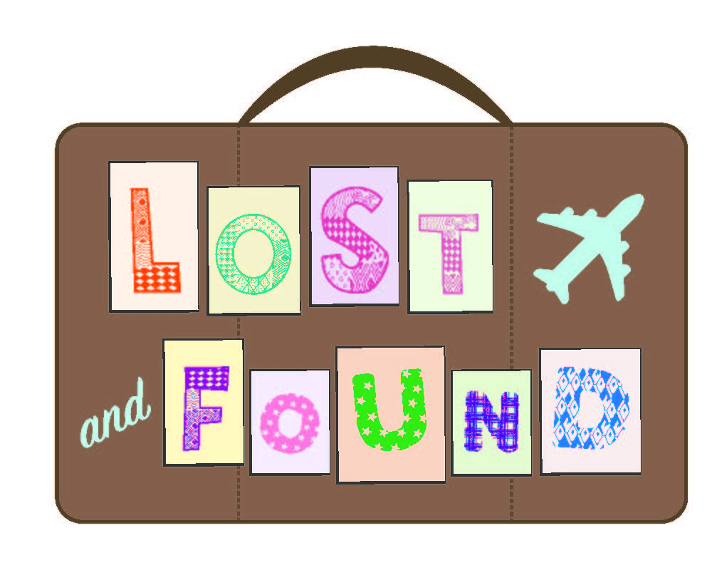 Lost and Found written in scrapbook font on suitcase