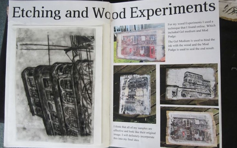 Etching and woodcut experiments in printmaking