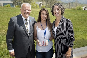 Photo of President Morales, Norma Cabrera, and Dr. Weber.