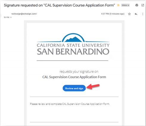 Sample CAL Supervision Course Application Email