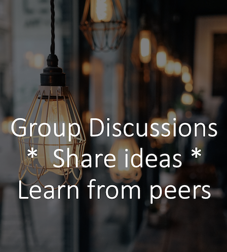 Background of a shop with writing saying group disucssions, share ideas, learn from peers