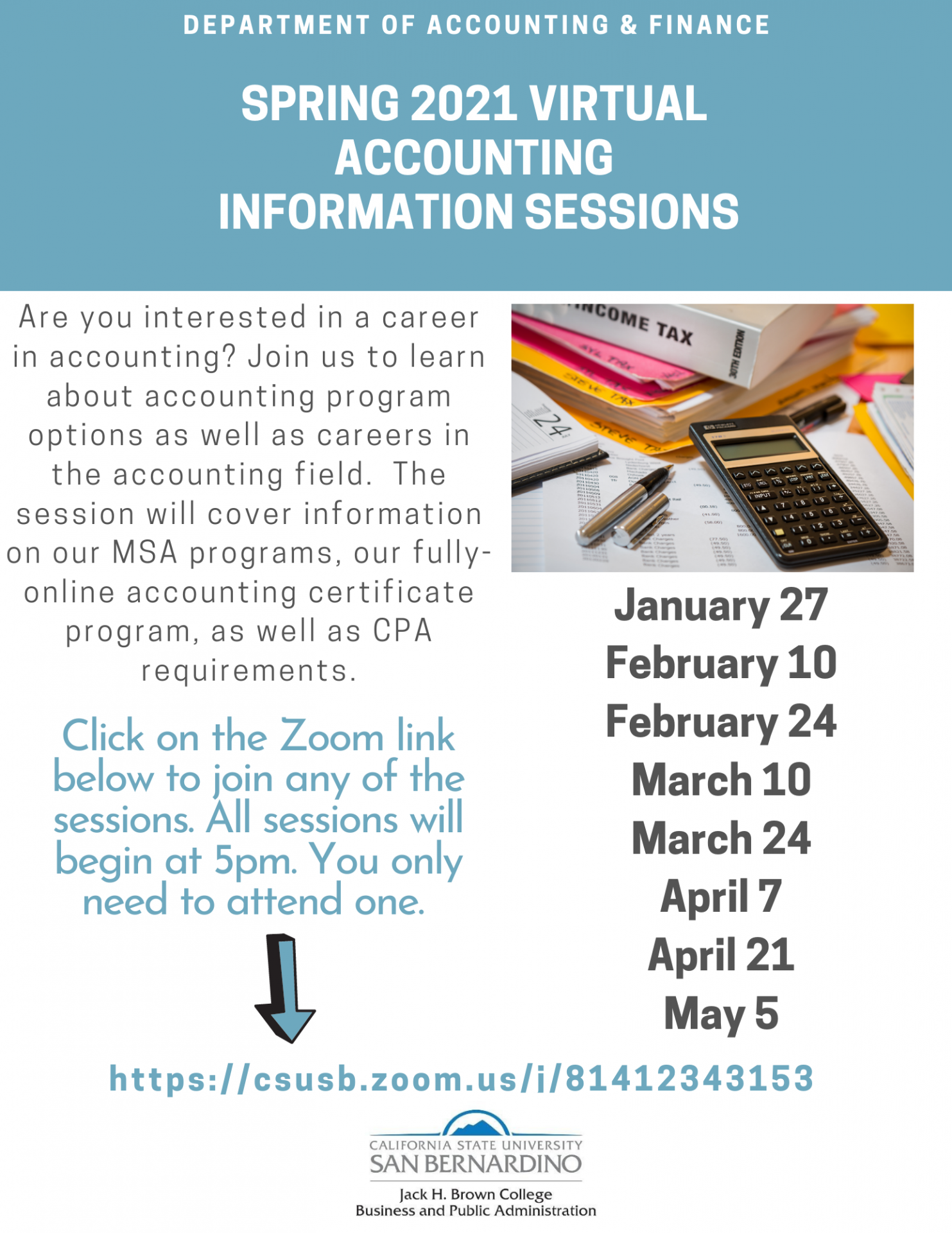 information session flyer with dates