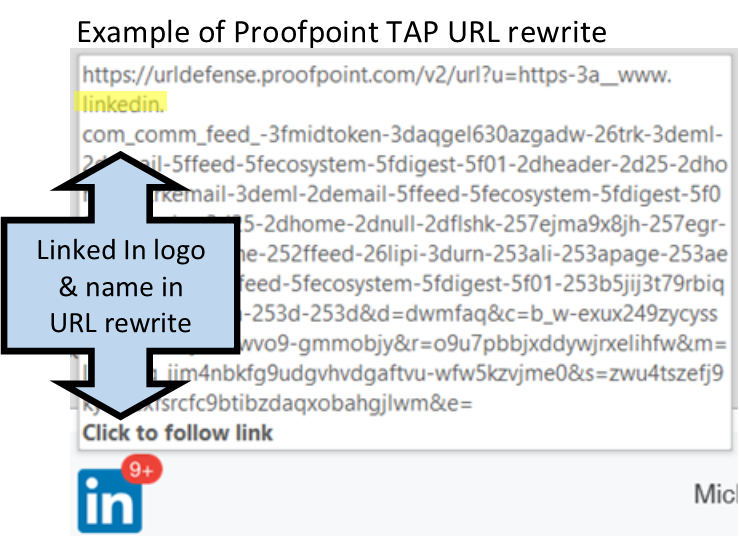 Example of URL rewritten by ProofPoint Targeted Attack Protection