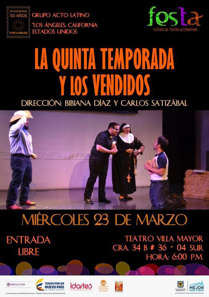 Flyer of Acto Latinos performance in Colombia