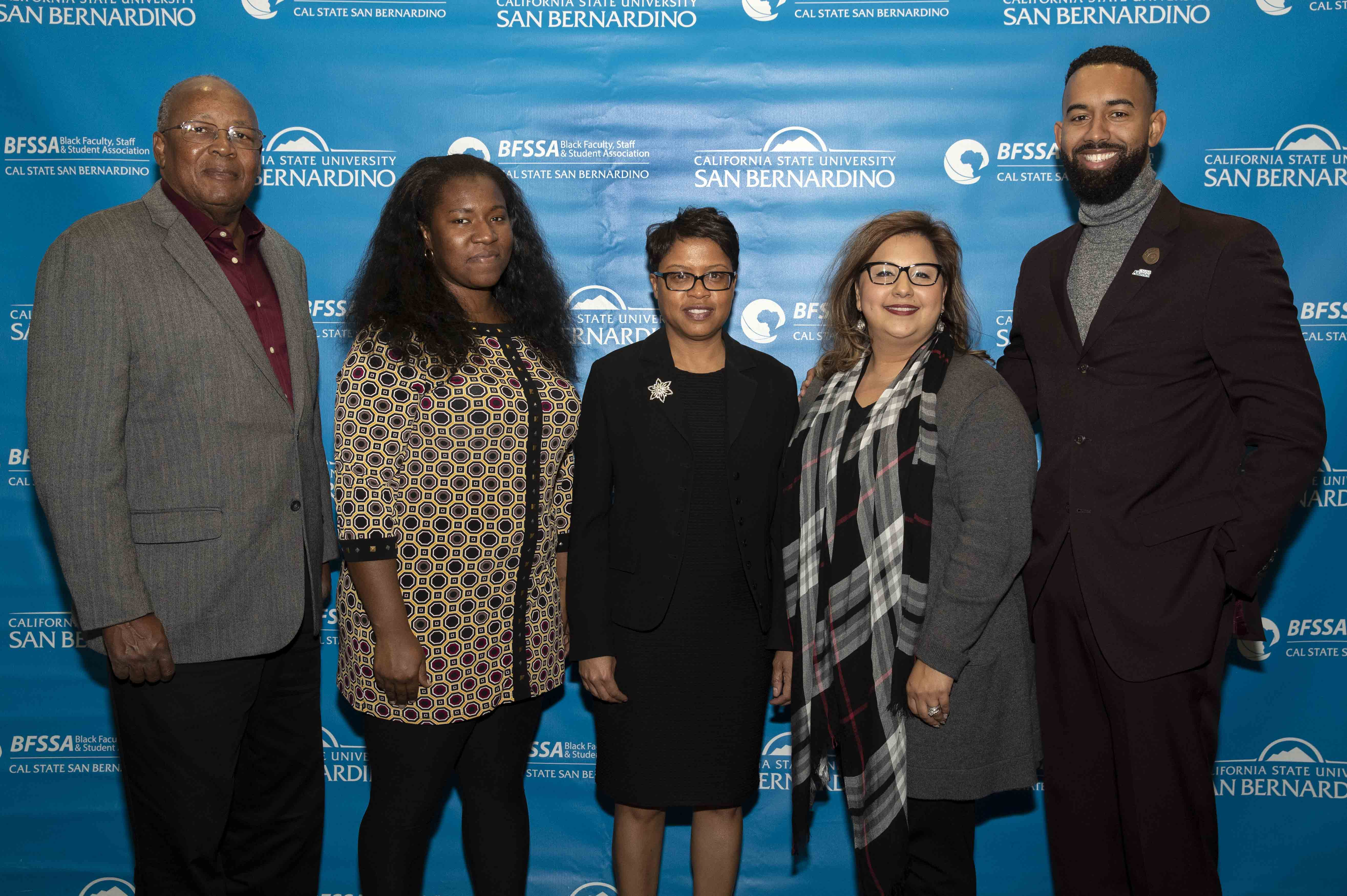 Pioneer honorees, from left: Tyrone Bookman, Staff Award; Paulette Brown-Hinds, Alumni Award; Veronica Ramirez Amerson, Lorraine Frost Ally Award recipient; and Tyree Vance, Emerging Leader.
