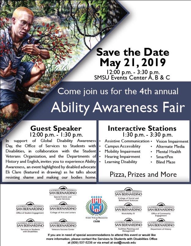 Author and activist Eli Clare highlights CSUSB's 4th annual Ability Awareness Fair on May 21