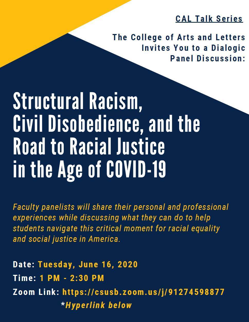 Structural Racism Panel Discussion flier, page 1