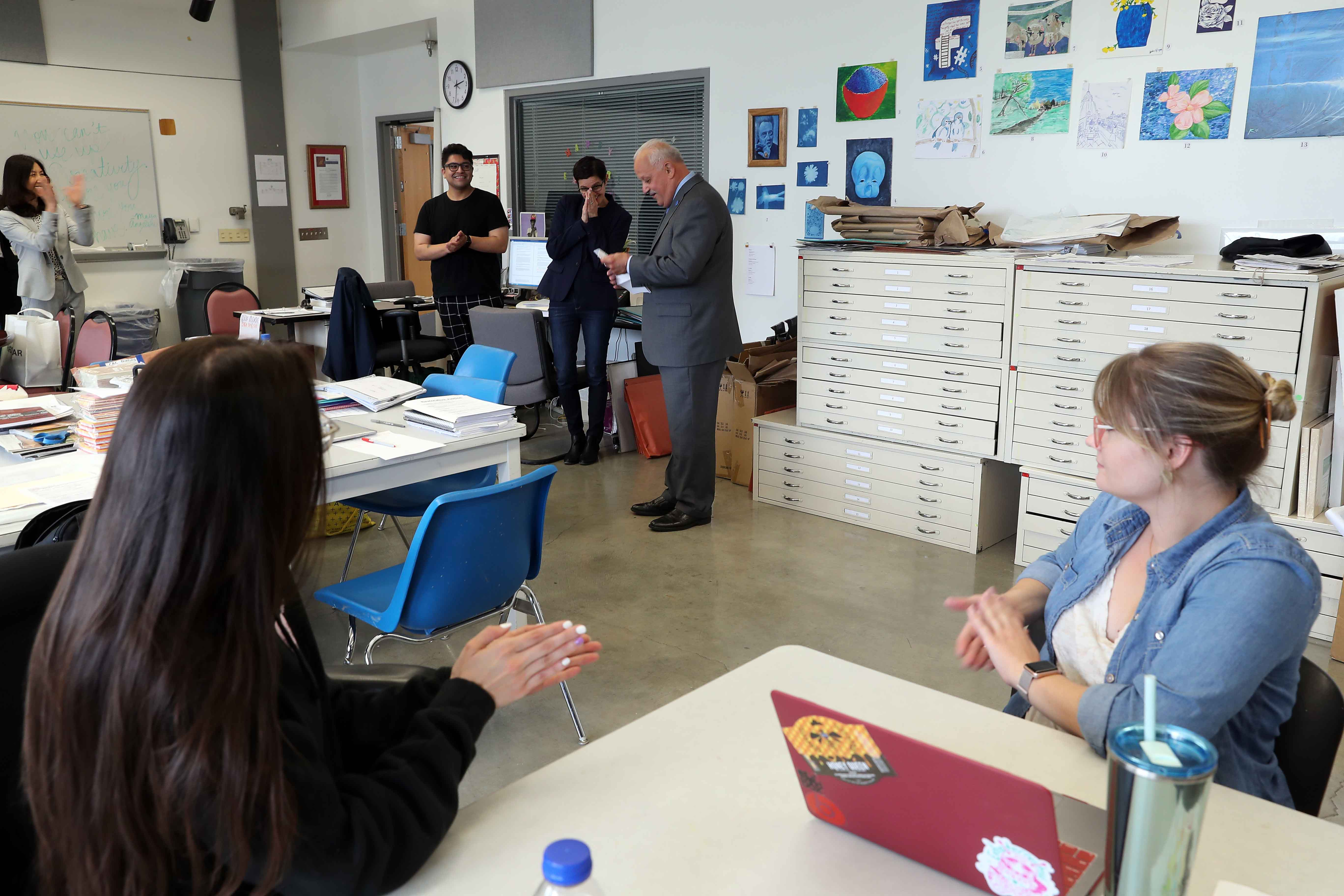 Professor Annie Buckley's meeting of staff and students in the Prison Arts Collective was interrupted on Wednesday, May 8, by President Tomás D. Morales and CSUSB's senior leadership, the College of Arts & Letters and her fellow art department colleagues.
