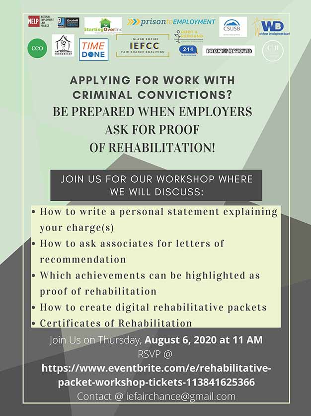 Flyer: Workshop for formerly incarcerated seeking employment set for Aug. 6
