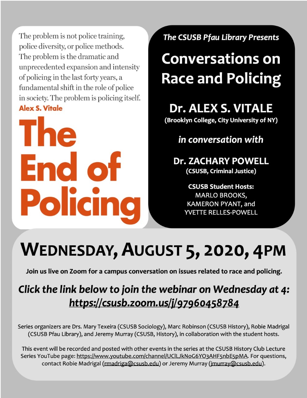 Flyer: Sociologist Alex S. Vitale featured at next Conversations on Race and Policing on Aug. 5