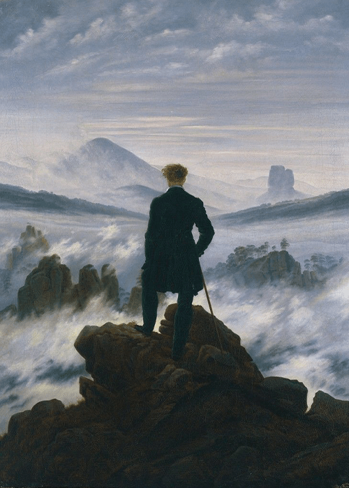 """Wanderer above the Sea of Fog"" Caspar David Friedrich"