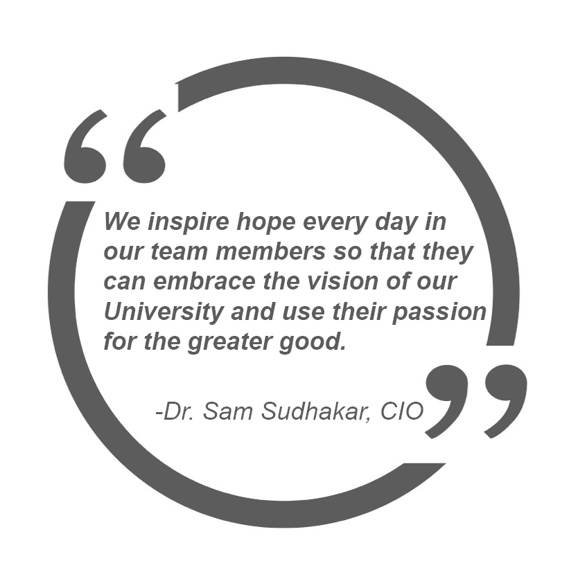 We inspire hope every day in our team members so that they can embrace the vision of our University and use their passion for the greater good. - Dr Sam Sudhakar CIO