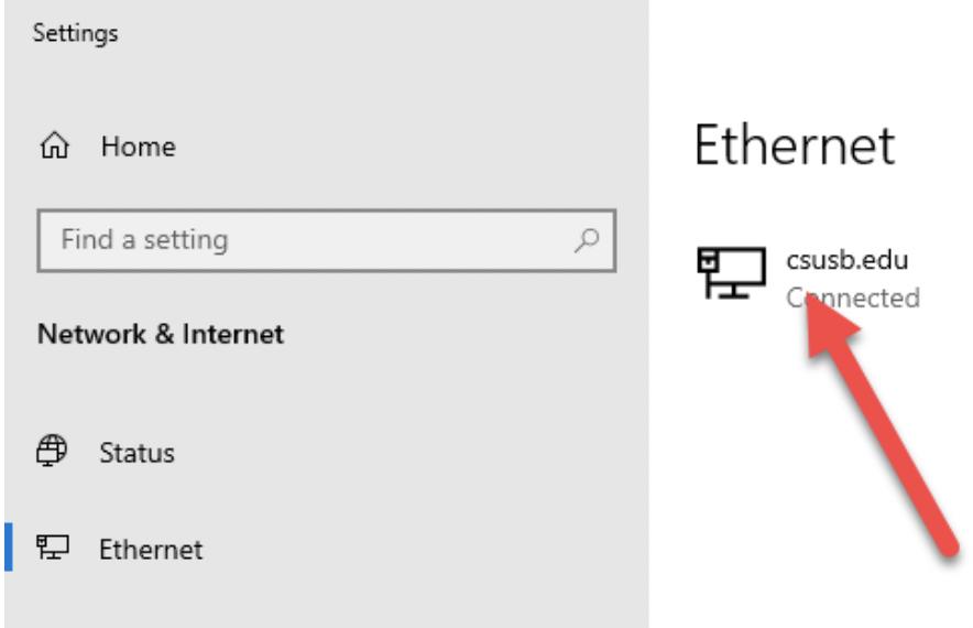 Windows 10 Network Setting