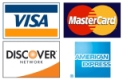 American Express, Mastercard, Visa and Discover cards accepted