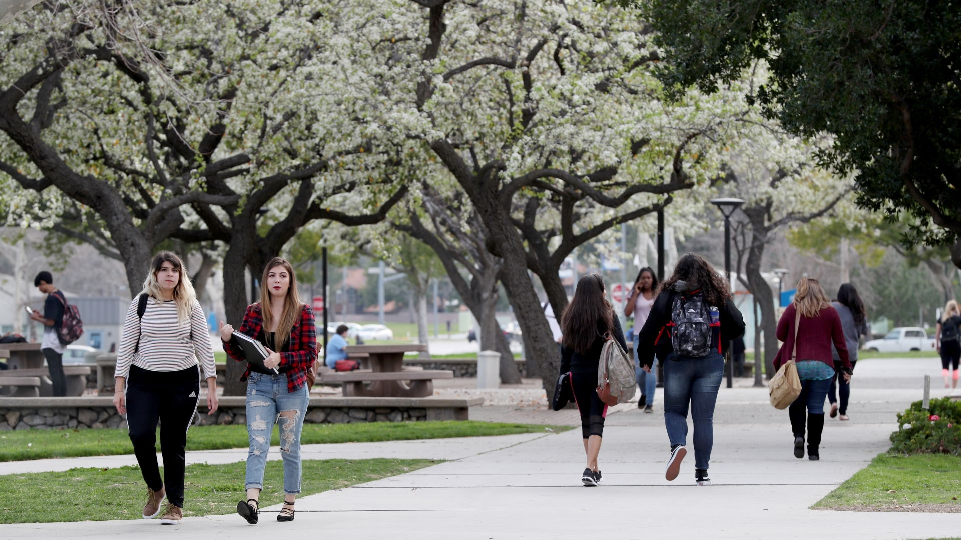 Students walking on CSUSB campus