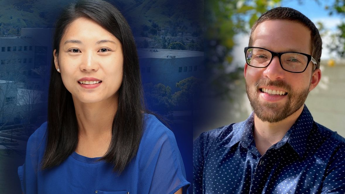 Zhaojing Chen, assistant professor of kinesiology (left), and Jacob Jones, assistant professor of psychology.