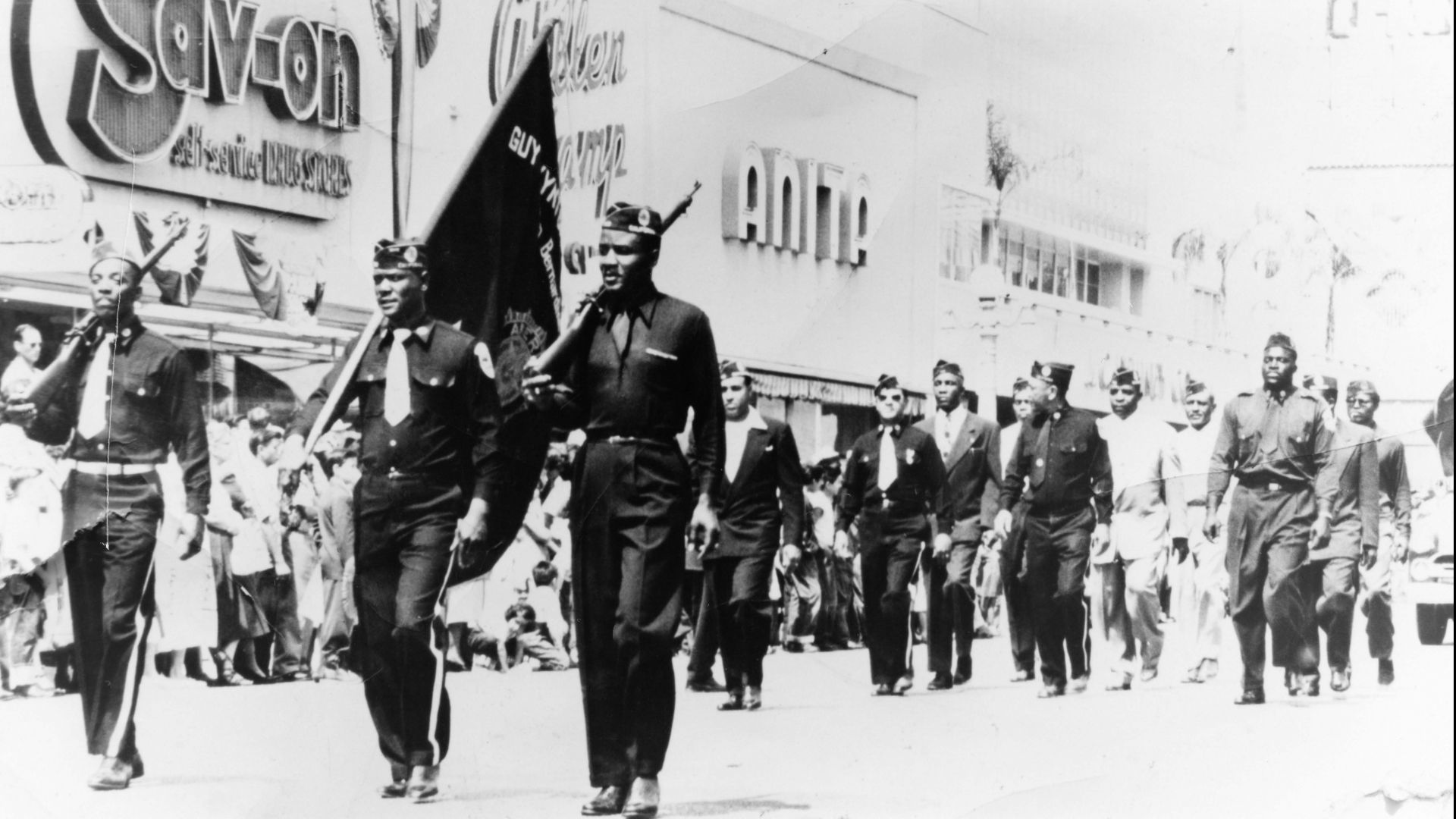 American Legion Post No. 710 Drill Team at Court & E Streets in Downtown SB. 1948. Photo by Henry Hooks, courtesy of San Bernardino County Museum.