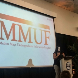 Dr. Alicia Gutierrez-Romine, CSUSB alum was the guest speaker at the Meet the Fellows reception on November 27th, 2018 to honor the winners of this year's Mellon Mays Undergraduate Fellowship program.
