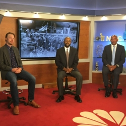 From left, Zachary Powell (criminal justice), Marc Robinson (history) and Rafik Mohamed (dean, College of Social and Behavioral Sciences) on the set at NBC Palm Springs. Photo by NBC Palm Springs