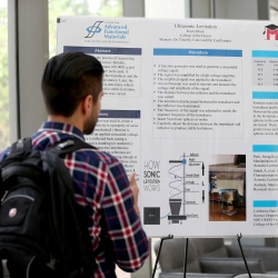 Student research poster presentations at the Center for Advanced Functional Materials Summer Research Open House and CREST Open House in July 2015. The CSUSB center is the recipient of National Science Foundation's International Research Experiences for Students grant.
